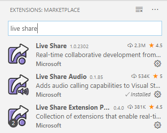 VS Live Share extensions